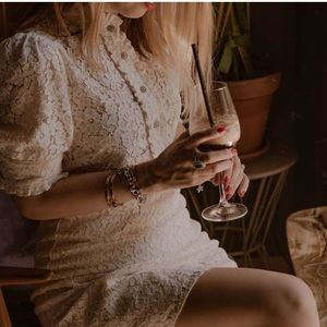 GORGEOUS ZARA NWT Lace Dress w Jewel Buttons
